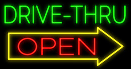 """Wholesale Drive Signs - Drive Thru Open Neon Sign Handcrafted Custom Real Glass Tube Restaurant Delis Food Trailers Store Advertising Display Neon Signs 17""""X9"""""""