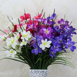 Wholesale Artificial Orchid Flowers Bunches Heads Freesia Wedding Silk Flowers Layout Props Party Home Decor Bouquets Real Looking Flower