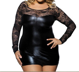 Wholesale Casual Dress Stores - Europe and the United States imitation leather lace stitching hollow sexy can wear outside the night store fashion women clothing sexy dress