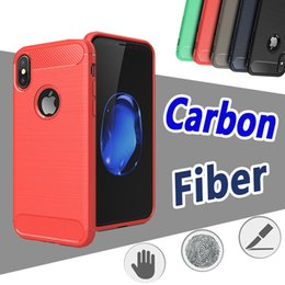 Wholesale Fiber Absorption - Carbon Fiber Rugged Armor Case Anti Shock Absorption Brushed Slim Hybrid Soft TPU Cover For iPhone X 8 7 Plus 6 6S 5S 5 Samsung Note 8 5 S8