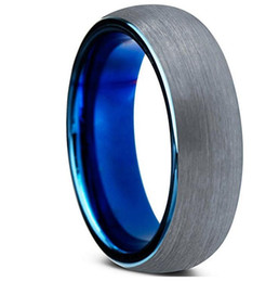 Wholesale Tungsten Wedding Rings For Women - Tungsten Wedding Band Ring 6mm for Men Women Comfort Fit Blue Round Domed Brushed