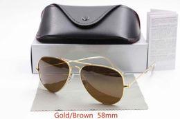 Wholesale Large Sunglasses Case - Designer Classic Sunglasses Mens Womens Sun Glasses Gold Frame Black 58mm Glass Lenses Large Metal Brown Case Excellent Quality