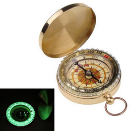 Wholesale Brass Navigation Compass - Outdoor Camping Hiking Compasses Portable Brass Pocket Golden Multifunction Fluorescence Compass Navigation New Arrival Camping Tools MK81