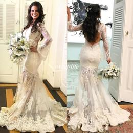 Wholesale Stylish Bridal Dresses - Stylish Mermaid V-Neck Wedding Dresses 2017 Bohemia Lace Applique Long Sleeves Backless Sexy Mermaid Wedding Gowns Plus Size Bridal Dress
