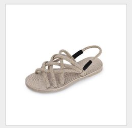 Wholesale Best Beach Shoes - In the summer of 2017 best-selling New Retro sandals strap flat woven shoes beach shoes handmade hemp wholesale sales