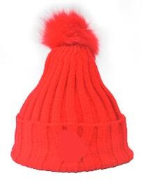 Wholesale Pink Rabbit Hat - Fashion Autumn Winter MON patch knitted hat women ball beanies skullies faux rabbit fur pompoms gorros outdoor bonnet hats for unisex caps
