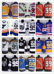 Wholesale Nhl Jersey Cheap - Cheap New York Rangers 99 Wayne Gretzky Throwback Hockey Jerseys St. Louis Blues LA Los Angeles Kings Vintage NHL 99 Gretzky hockey jerseys