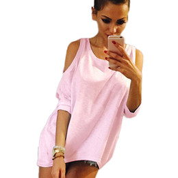 Wholesale Brown Womens Crew - Wholesale- Summer Women T-Shirt O-Neck Solid Color Off Shoulder Sexy Long T shirt Womens Top Tees Loose Casual T-shirt Plus Size KH934998