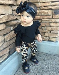 Wholesale Leopard Print Baby Girls Pants - Ins Baby Girl Two piece Outfits 2017 New Black Fly Sleeve T-shirts + Leopard Printed Pants fashion suit baby clothes