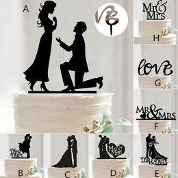 Wholesale accessories for wedding party - Mr Mrs Wedding Decoration c Acrylic Black Romantic Bride Groom Cake Accessories For Wedding Party Favors