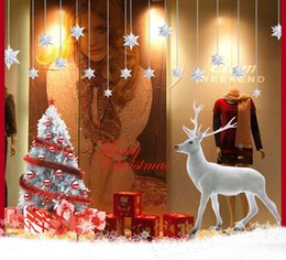 Decorazioni adesivo di babbo natale online-2pcs 60x90cm Buon Natale Wall Sticker FAI DA TE Babbo Natale Xmas Tree Decoration Home Decor decorazione vitrino Natale cervo Vetrofanie