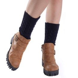 Wholesale Yellow Boots For Girls - Wholesale-Korean Fashion Style 20cm Winter leg warmers for women,Girls Short Socks Knitting Leg Warmers Boot Cover Plus size Free Shipping