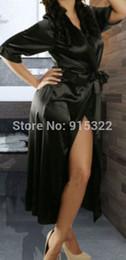 Wholesale Lingerie Babydoll Silk - Wholesale- Long Black Sexy SILK Kimono Dressing Gown Bath Robe Babydoll Lingerie Nightdress