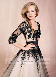 Wholesale Embroidery Taffeta Chiffon - Plus Size 2017 Scoop Tea-Length A Line Tulle Lace embroidery 3 4 Long Sleeves Short Lace Up Back Dresses Cocktail Dress Homecoming