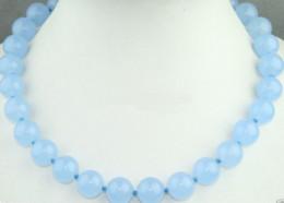 "Wholesale China Pendant Lights - Fashion Handmade 10MM Natural Light Blue Jade Round Gemstone Necklace 18"" AAA"