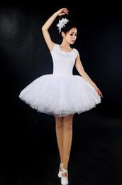 Wholesale Ballet Wear Leotard - Women's traditinoal tutu white stage wear performance dress Ballerina skirt stage ballet dress ballet leotards D003
