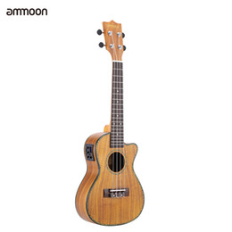 "Wholesale Solid Koa - Wholesale- ammoon 24"" Cutaway Ukulele Hawaii Guitar with LED EQ Koa Plywood Cowry Shell Brims OX Bone Saddle Gift"