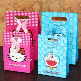 Wholesale Happy Crafts - Large Gift Packaging Box Cartoon Color Hello-Kitty Gift Bags Portable Bag Happy Birthday Baby Paper Gift Wraps Festive