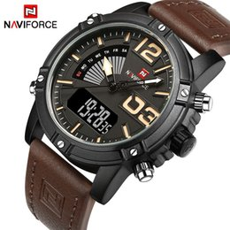 Wholesale Men Leather Watch Dual - NAVIFORCE Brand mens watches Dual Display Quartz Watch Man Army Military Sports Watches Men Leather strap relogio masculino +origin box