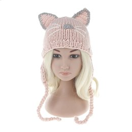 Wholesale Girls Winter Hats Cat - Baby Cat Ears Hats beanies 2017 new Winter Kids warm Caps Children Hats Handmade Girls Hats Toddlers slouchy Beanies for Baby