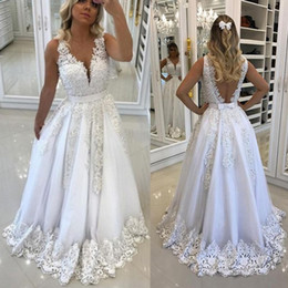 Wholesale Vintage Wedding Dress Sashes Belts - Romantic White Appliques with Beads Pearls A Line Wedding Dresses Sexy Backless with Bow Belt V Neck 2018 New Bridal Gowns Vestidos Custom
