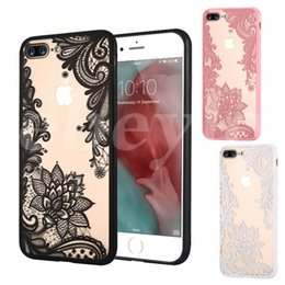 Wholesale Cover Flowers - Luxury Lace Phone Cases Datura Paisley Mandala Flowers TPU Cover Case For iPhone 7 7 Plus 6 6s Plus 5 5s 3 Colors