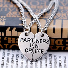 Wholesale Newest Necklaces - Two Peach Hearts Splicing Partners In Crime Necklace Friends Necklace Silver Plated letter necklace fashion jewelry newest 161945