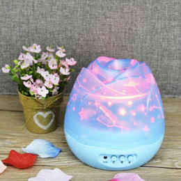 Wholesale Bud Light Led - LED Night Lamp Rotating Flower Bud Shape Multi Color Starry Star Moon Lighting Colorful Projector Lamps Romantic Gift 26ns F R
