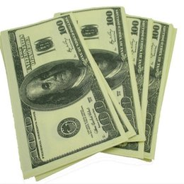 Wholesale Dollar Tissue Paper - Wholesale- 100$ Dollars Napkin Toilet Tissue US Dollar Bill Paper Towel Novelty Fun Tricky Party Gift home 2016