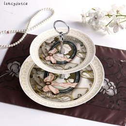 Wholesale Double Layer Tray - Retro Double-Layer Tray European Cake Pan An Afternoon Snack Plate Ceramic Fruit Bowl Creative Home Decoration Classic