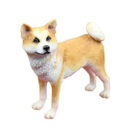 Wholesale Cute Dog Wedding - Cute Akita Dog Figurine Hands carved resin dog statue stand looking you for home table and garden decoration