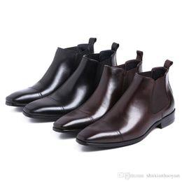 Wholesale Vogue C - Vogue Comfortable Fashion High Quality Genuine Leathe Slip-On Spring Autumn Flat Ankle Boots For Men