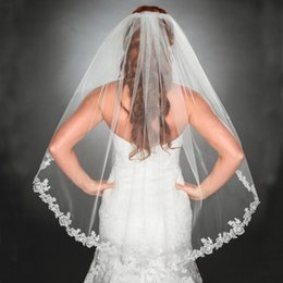 Wholesale Veil Short Lace Comb - Vintage Short Soft Veil White Ivory Champagne Bridal Veils with Lace Appliques Edge Elbow Length Hair Accessories with Comb