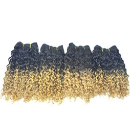 Wholesale Cheapest Curl Hair - Super Curly Two colors Dyed Cheapest Peruvian Human Hair 8 inch Ombre Short Curls Weave 50g pc 4pcs Queen Beauty