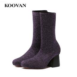 Wholesale Ladies Christmas Socks - Fashion Sock Boots Star Shoes Women Ladies Boots 2017 Autumn Spring Koovan Stretch Fabric Chunky Heel Free Ship W193