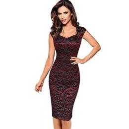 Wholesale Plus Size Elegant Womens Dresses - Plus Size 4XL Summer Dress 2016 Autumn Womens Elegant Embroidery Flower Vintage Sleeveless Office Casual Party Pencil Dresses