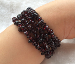 Wholesale Natural Red Garnet Bracelet - Wholesale Natural Semi-precious Stones Crystal garnet gravel with form necklace Bracelets Fashion Women Jewelry