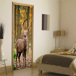Adesivi murali autoadesivi della parete dei cervi della foresta Imitazione 3D Poster DIY Adesivi murali della porta della camera da letto della parete del salone di DIY cheap deer sticker for bedroom da cervo adesivo per la camera da letto fornitori