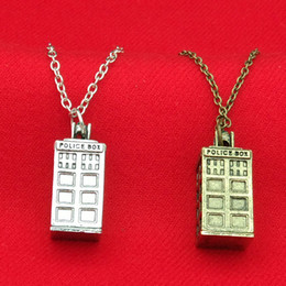 Wholesale police box necklace - Doctor Who Tardis Police Box Necklace bronze silver mysterious Phone Box charm Tardis necklaces statement jewelry for men women gift 160480