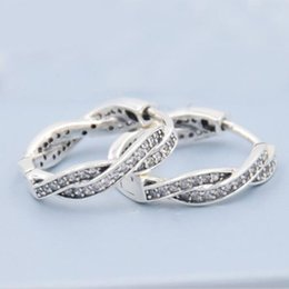 Wholesale Twisted Hoop Earrings - 925 Sterling Silver Twist of Fate Hoops With Clear CZ Earrings Compatible With Pandora Earrings Jewelry