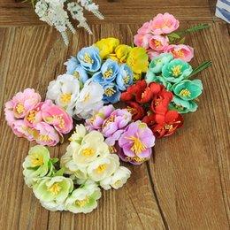 Wholesale Cloth Tea Bag - 60pcs bag Cloth Tea Rose Flowers Artificial DIY Hand Material Garland For Wedding Decorations More Colors