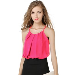 Wholesale White Blouse Strap - 3PCS 2017 Summer Fashion Women Sexy Chiffon Tops with Sleeveless Camis Cropped Ladies Spaghetti Strap Lacing Bilayer Crop Tank Top Blouse