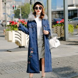 Wholesale Embroidery Fur Coat - 2017 autumn&winter new casual women coat,raccoon fur collar long embroidery denim jacket (blue) size:m,l,xl (wbss7293 )