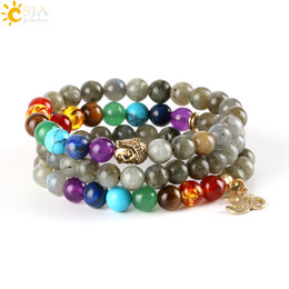 Wholesale Amethyst Loose Beads - CSJA 8mm Women Men Bangles Real Labradorite Spectrolite Beaded Bracelets Natural Stone Loose 7 Chakra Meditation Beads OM Buddha Charms E447