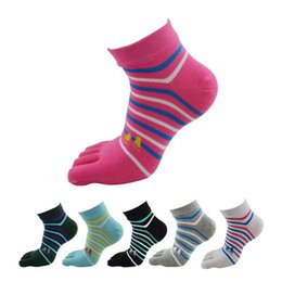 Wholesale Colorful Socks Toes - Wholesale-(6Pairs lot)New Style Fashion Cute Women Toe Socks Female Colorful Cotton Five Finger Socks Ladies Low Cut Ankle Socks Boat