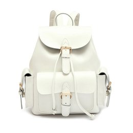 Wholesale Cow School Bags - Wholesale- 2017 New Genuine Cow Leather Backpack Women Bags Fashion White Black Back Bag School Bag Casual Preppy Style Travel Bag Girls
