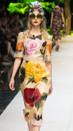Wholesale flower print mini dress - Flower Print Women Sheath Dress Lace Patchwork Cat Walk Dresses 129A724