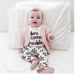 Wholesale White Plaid Shirts For Girls - 2017 New Baby Girls Boy Clothes Long Sleeve Shirts + Pants Newborn Baby Clothes For Baby Girl Suits Spring Infant Girls Clothing
