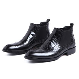 Wholesale mens oxford boots - Crocodile Grain ankle boots mens dress shoes genuine leather boots man pointed toe wedding shoes office shoes