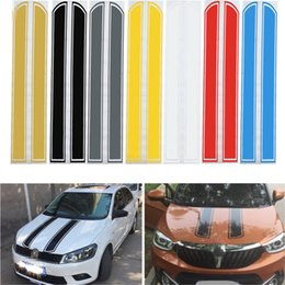 Wholesale Engine Decals - Wholesale- Universal 130cm x 24cm Car Hood Scratched Stickers Engine Cover Styling Reflective Decal Stripe Vinyl DIY Decoration PVC